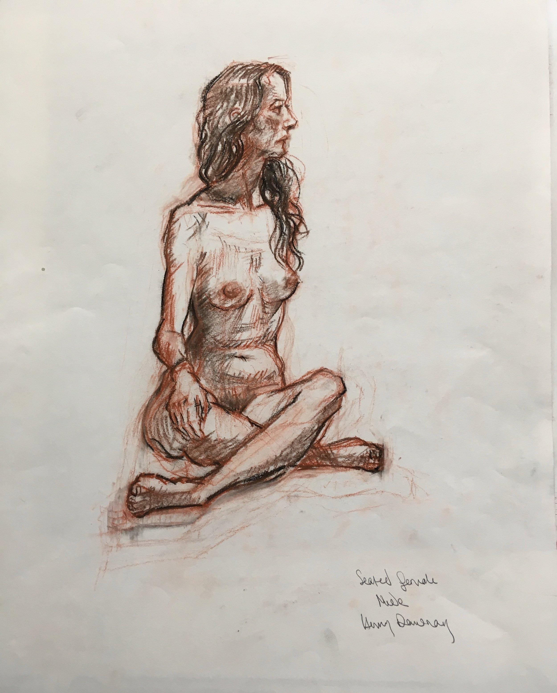 cross legged female nude  sepia and sanguine on paper