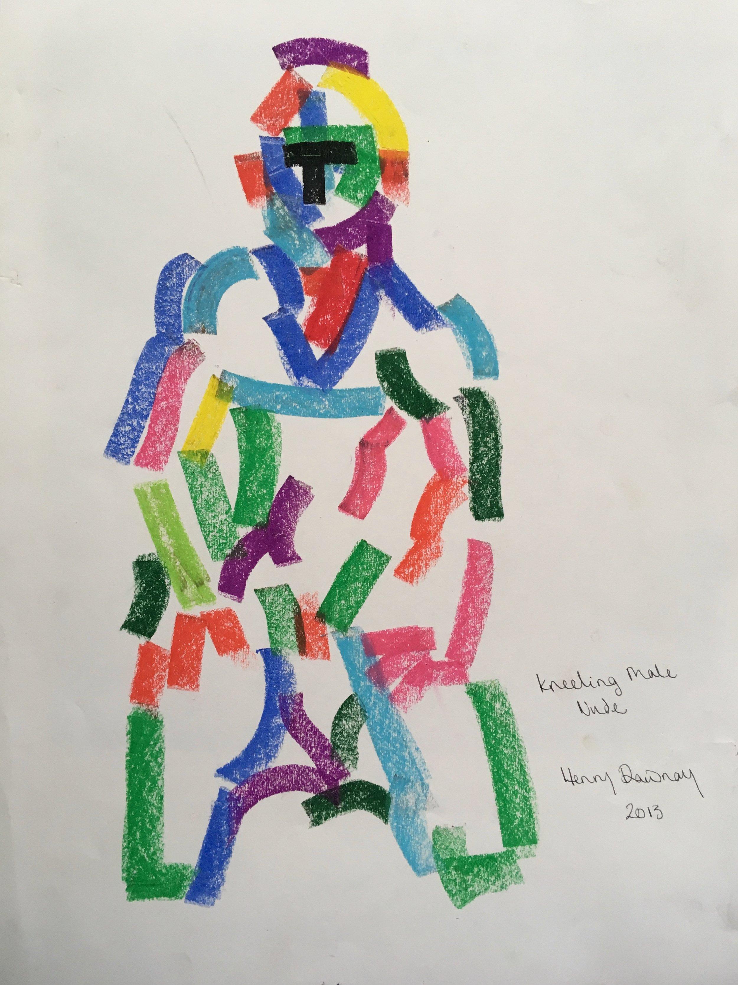 Male kneeling  oil pastel on paper