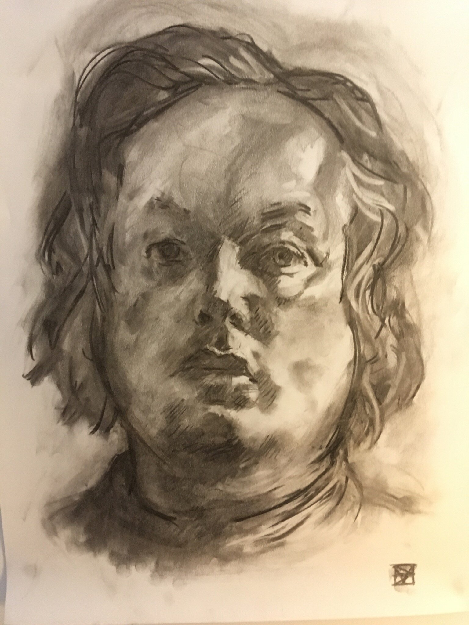 SELF  CHARCOAL ON PAPER  440£