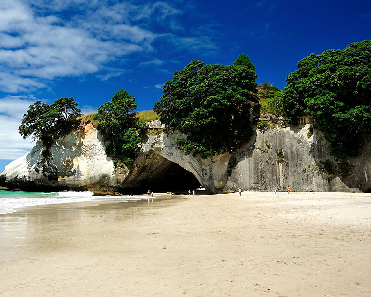 """CATHEDRAL COVE   Accessible only on foot, boat or kayak, famous Cathedral Cove is one of the """"must visit"""" sites on The Coromandel. ... Cathedral Cove is located at Hahei, just 10 minutes drive from the famous Hot Water Beach  Track begins northern end of Hahei"""