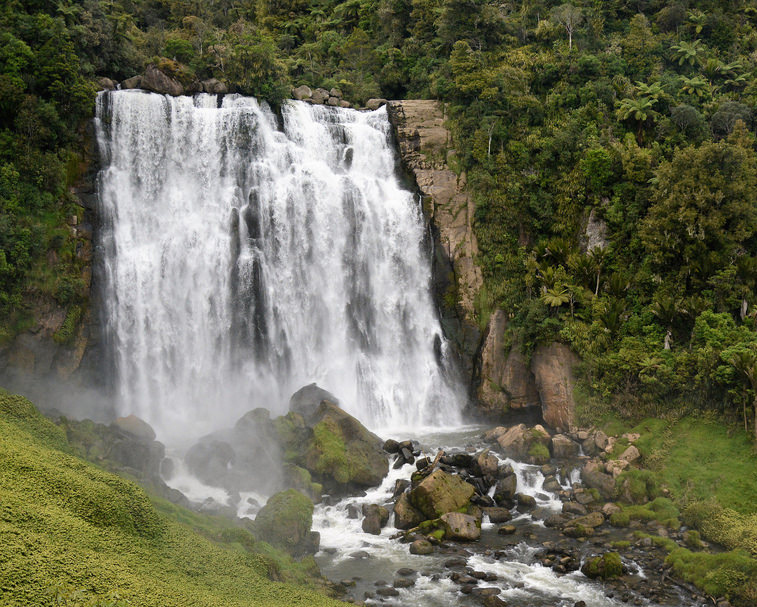 MAROKOPA FALLS   Te Anga   The 35 m high falls are often described as the most beautiful in the country!