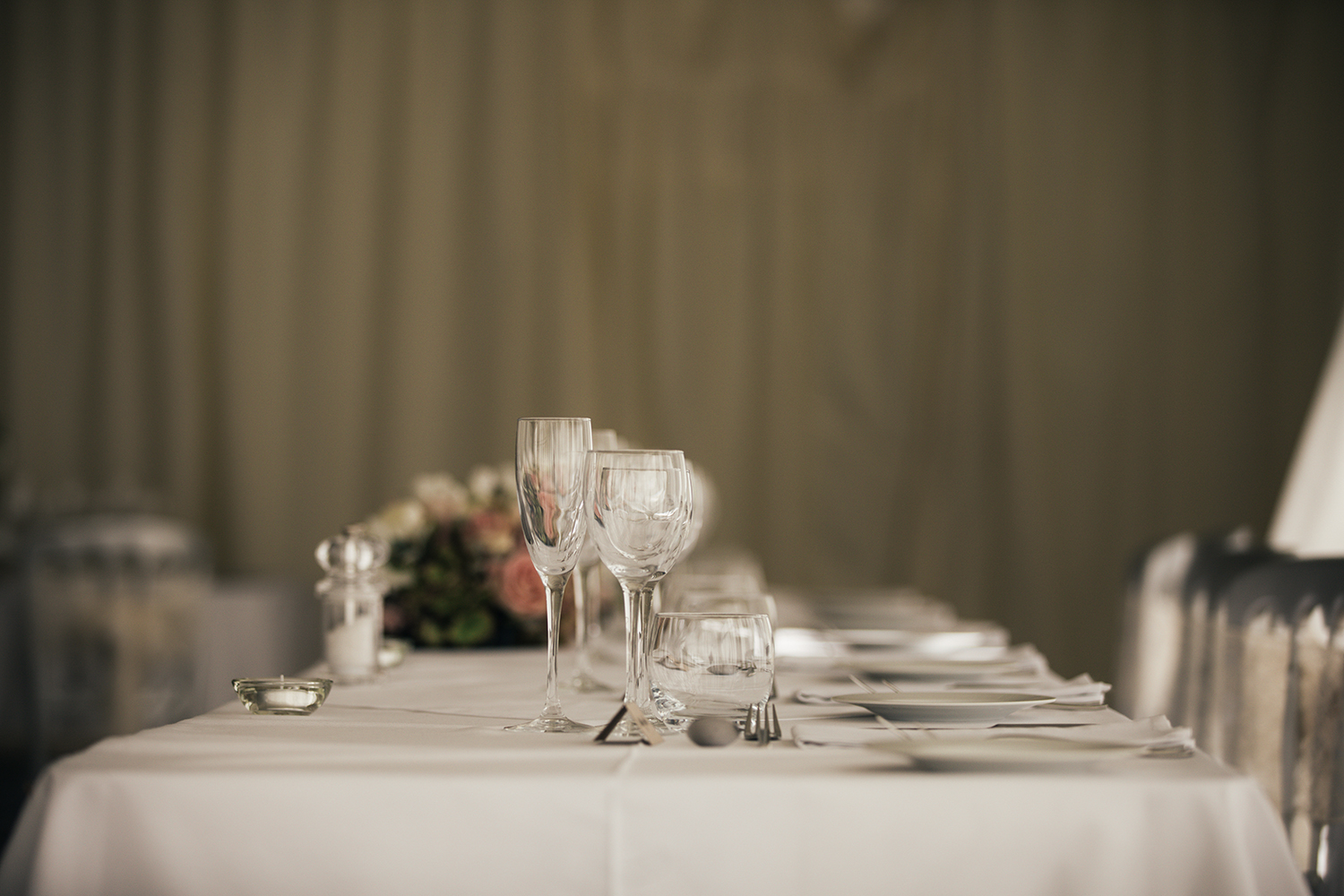 Wedding table details at Manor Hill House