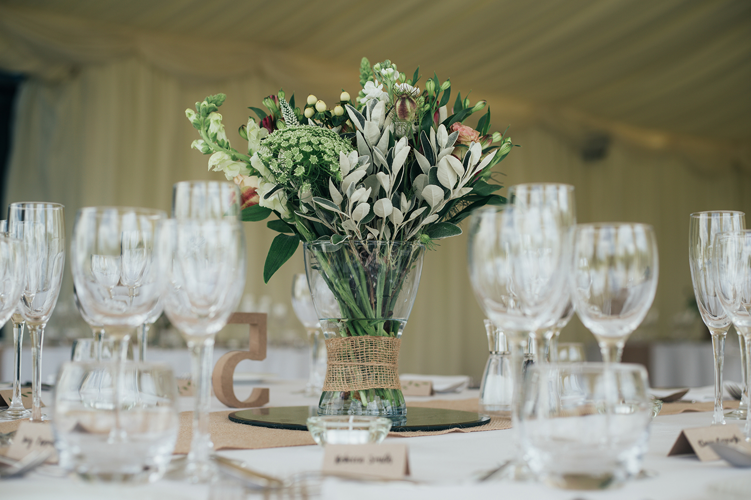 Wedding flowers on dining table