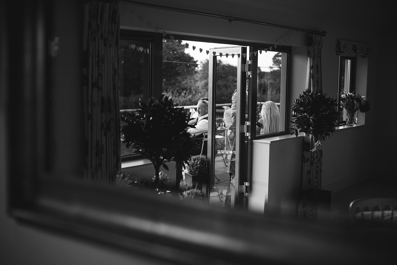 Wedding guests on balcony