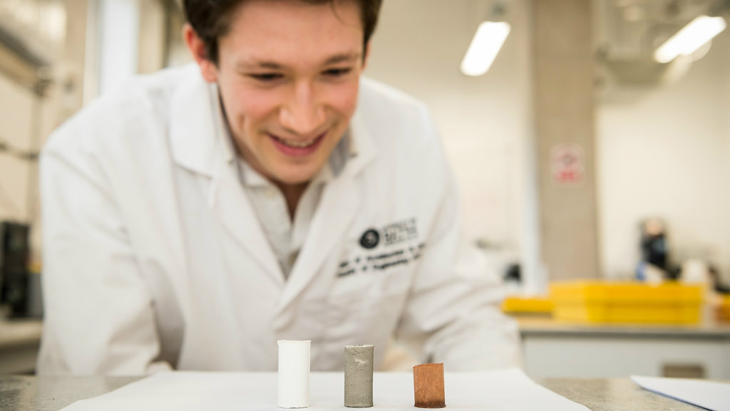 Alastair Marsh from the University of Bath is developing soil-based construction materials which could provide sustainable housing in developing countries