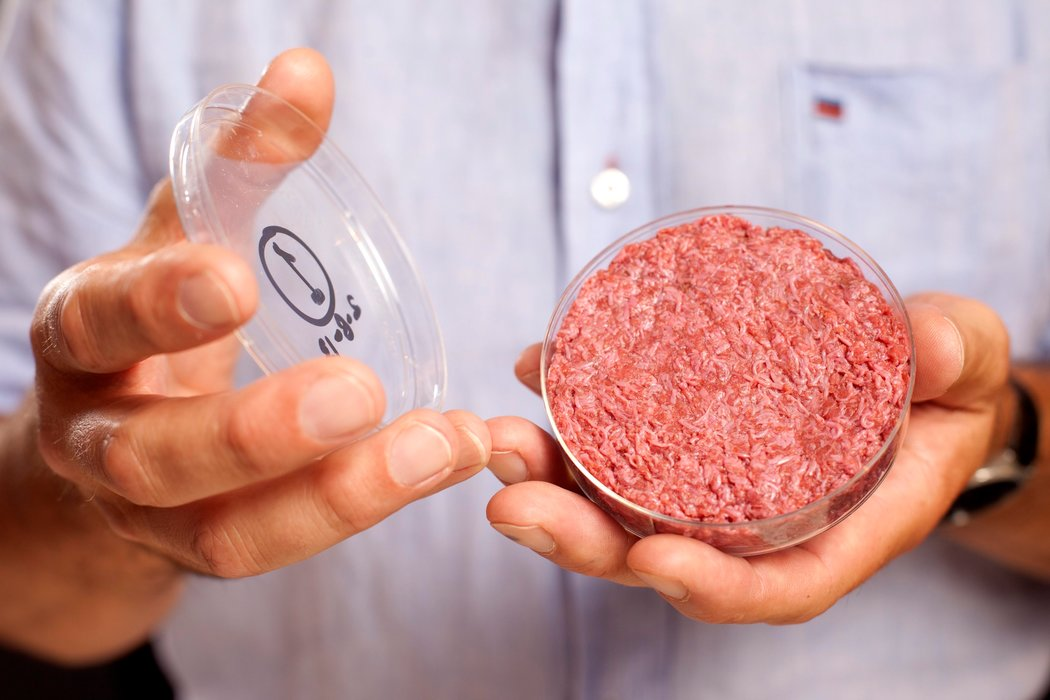 "Lab-grown ""clean"" meat.  Photo: NY Times"