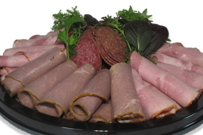 Meat Tray - Freshly cut deli meats of your specifications arranged on a tray for your event. The photo above has Black Forest Ham, Summer Sausage and Roast Beef arranged.