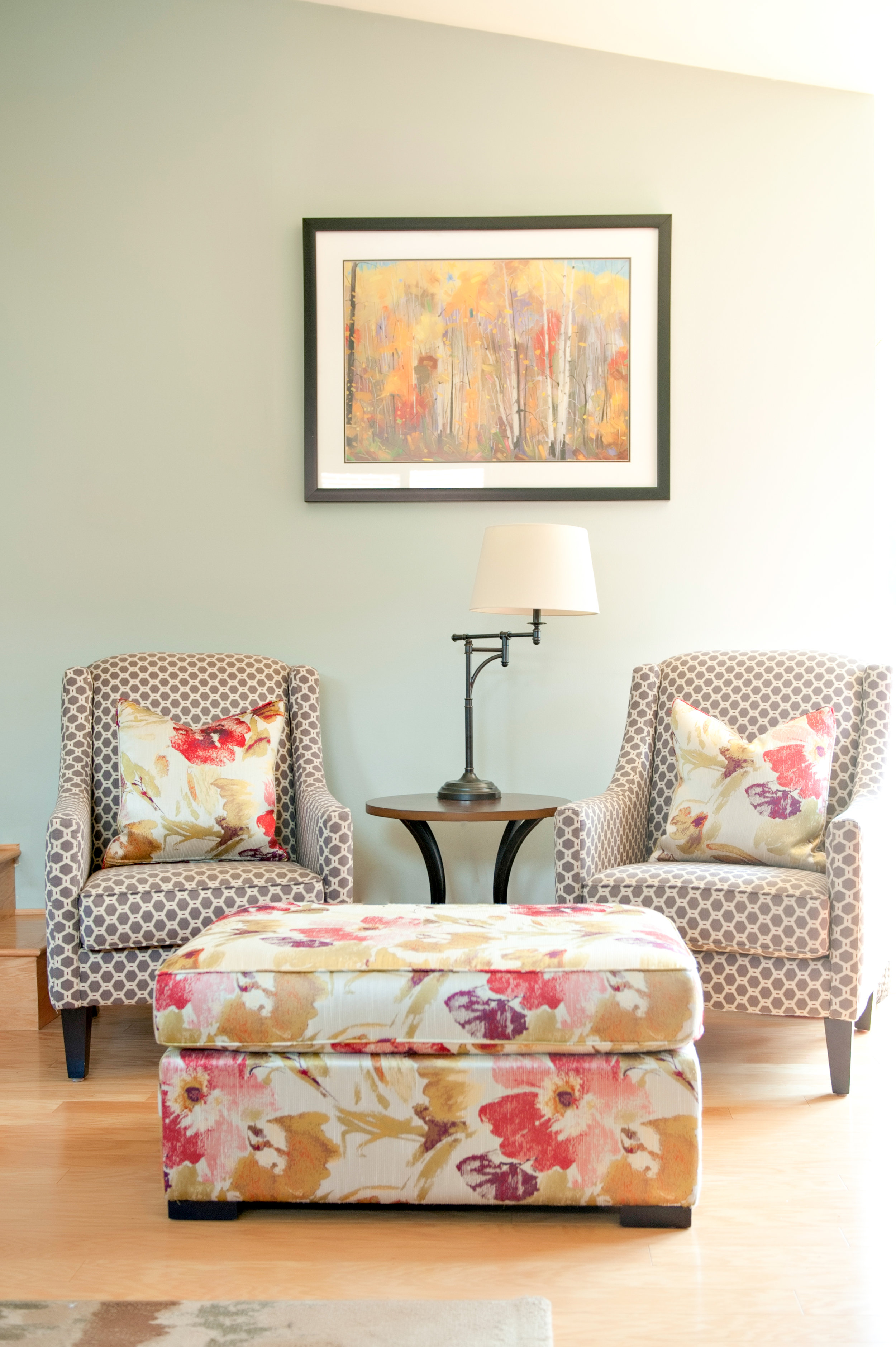 Interior-Design-Custom-Chairs-Red-Floral-Poppies