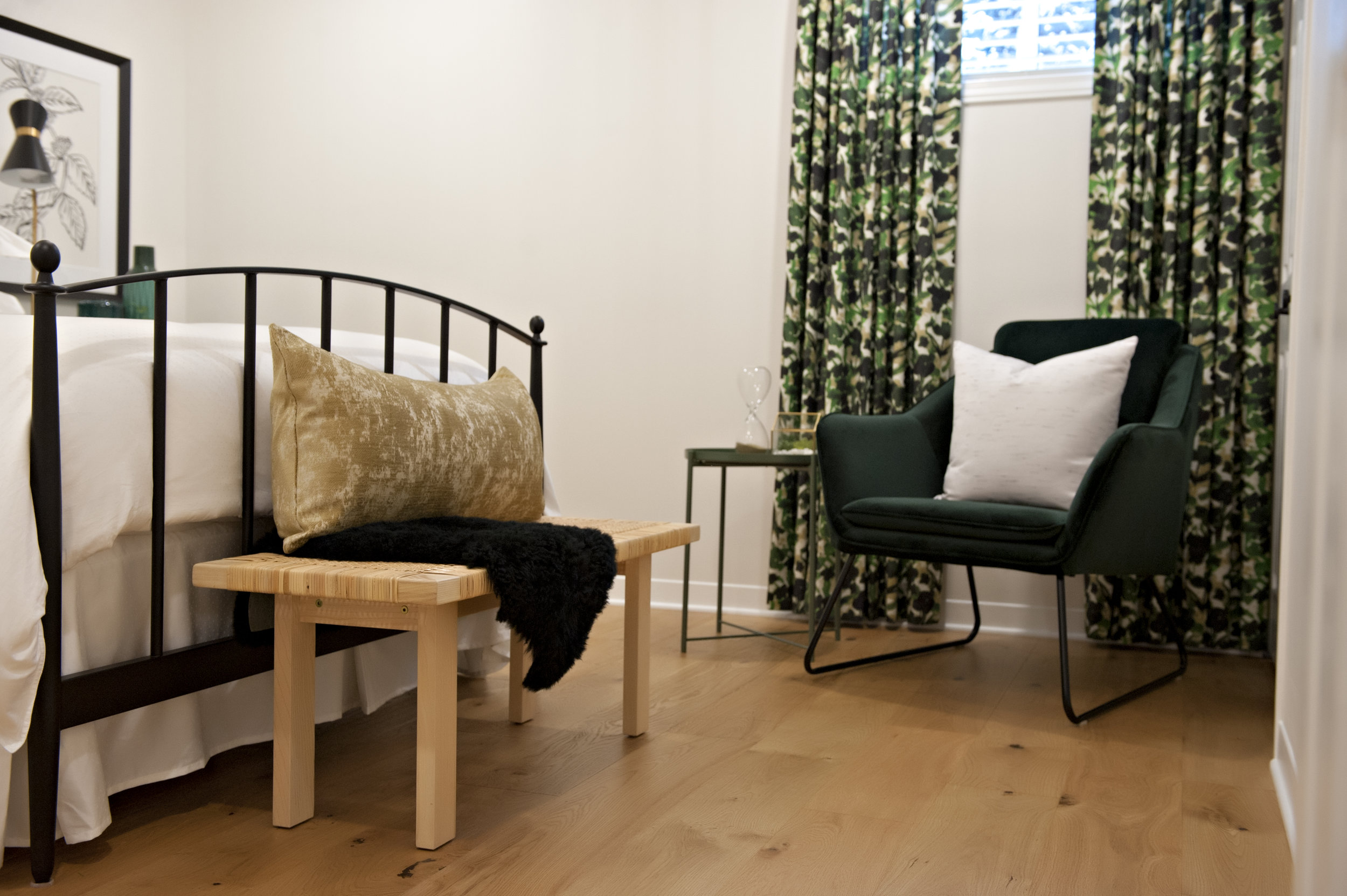 cedar-brae-basement-bedroom-rattan-bench