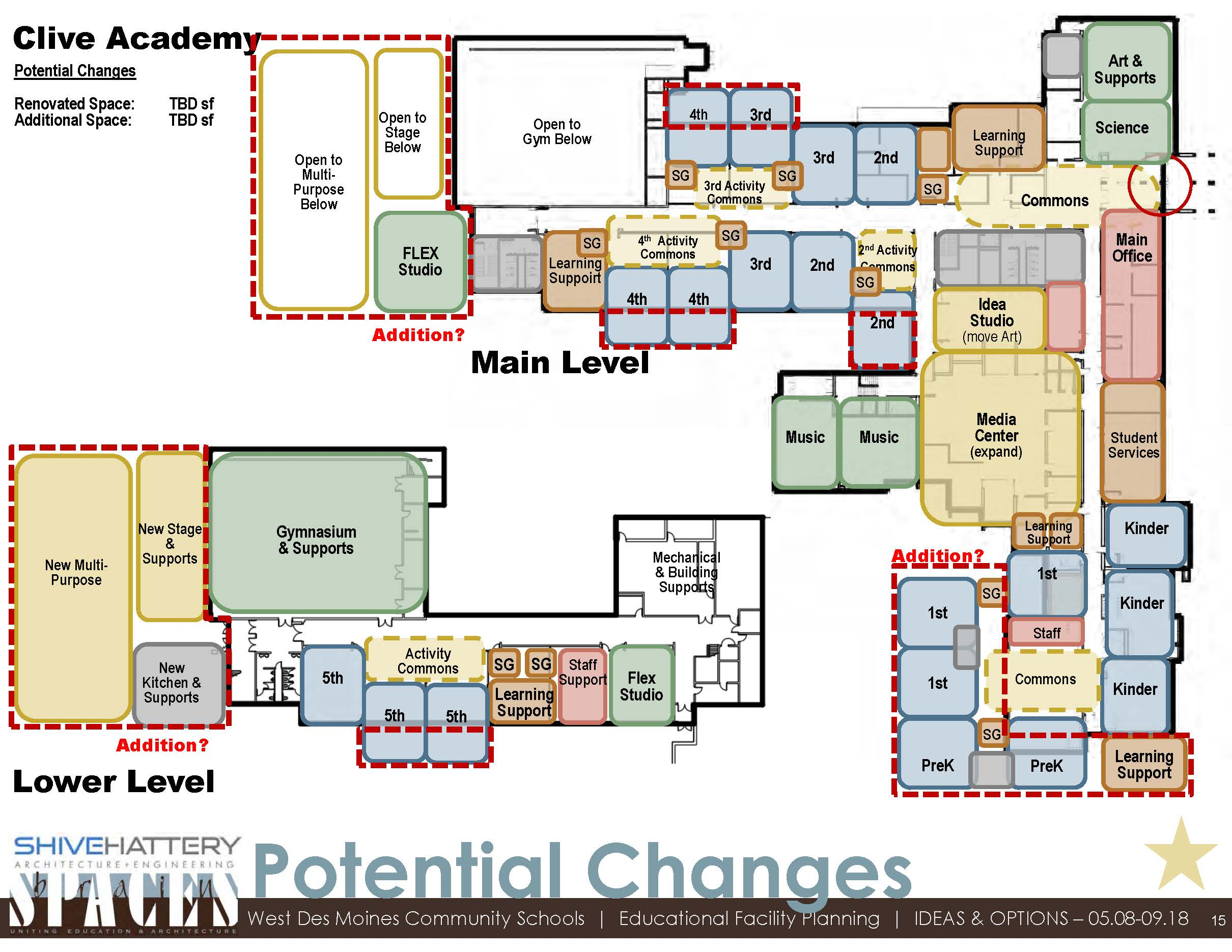 POTENTIAL CHANGES  This graphic outlines options for reconfiguring current space and creating additions to the building to accommodate current and future needs.   Click on the graphic to view full image.