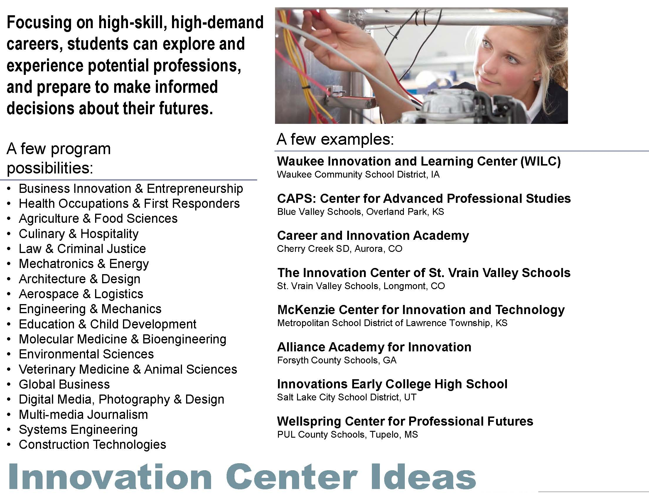 Innovation Center Program Ideas  This graphic lists program options for the Innovation Center as well as a list of school districts across the country who have an innovation center.   Click on the graphic to view full image.