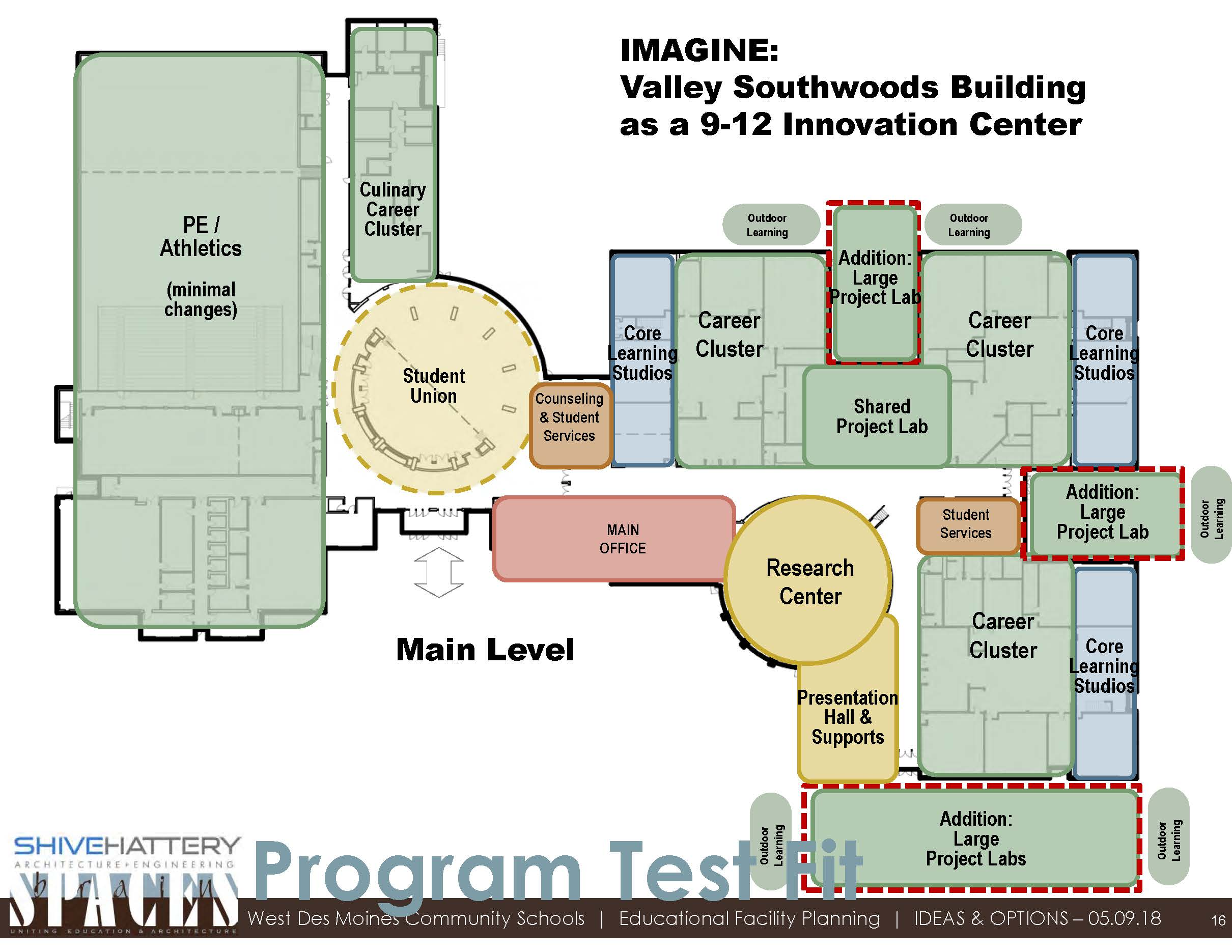 Valley Southwoods As The Innovation Center  This graphic indicates how spaces could be utilized if the Valley Southwoods building was transitioned to the Innovation Center.   Click on the graphic to view full image.