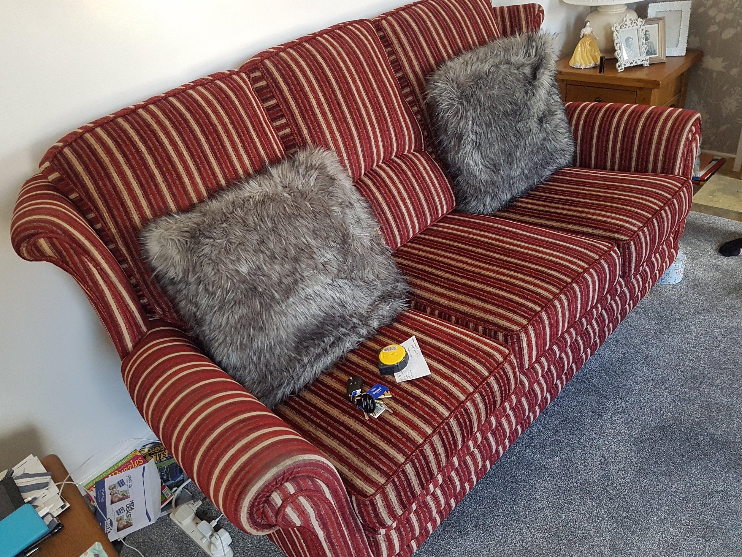 3 Cushion to 2 Cushion Sofa - Before