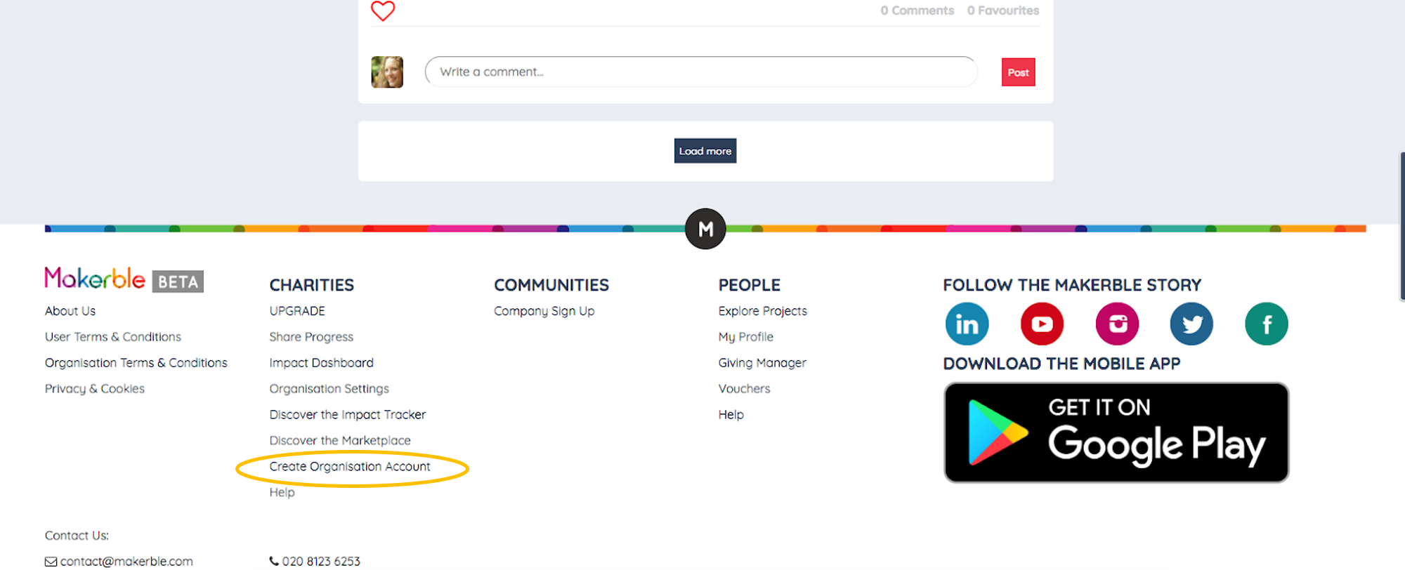 - 1. Scroll down to the bottom of the page and click on 'Create Organisation Account' as indicated.