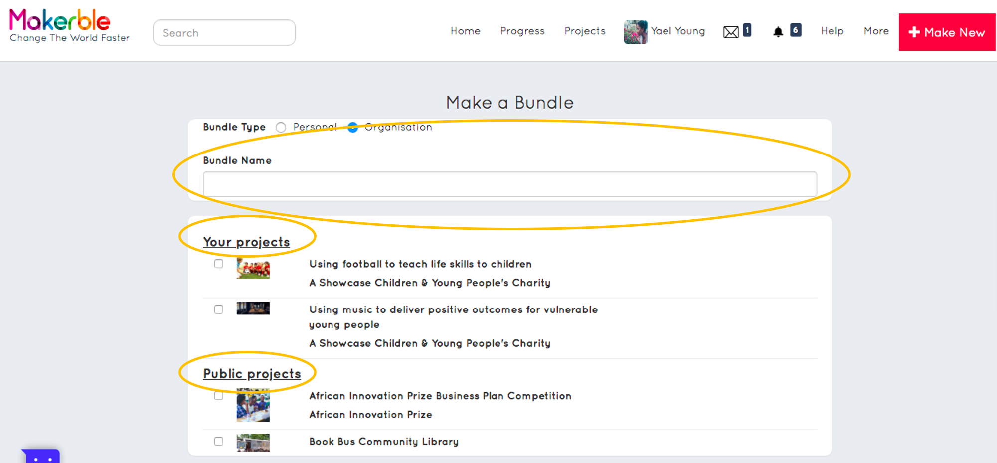 - 2. Give your Bundle a name in the box highlighted3. Select the projects that you would like to add to your Bundle from either of the areas circles4. Press Save at the bottom of the screen