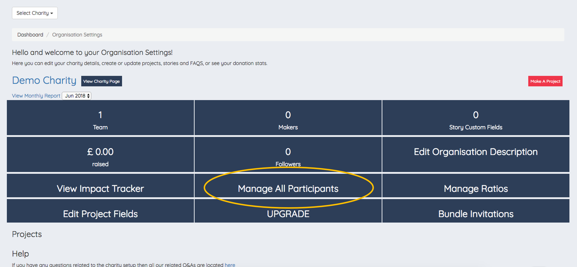 - 1. Go to your Organisation Settings and click on Manage All Participants as circled here