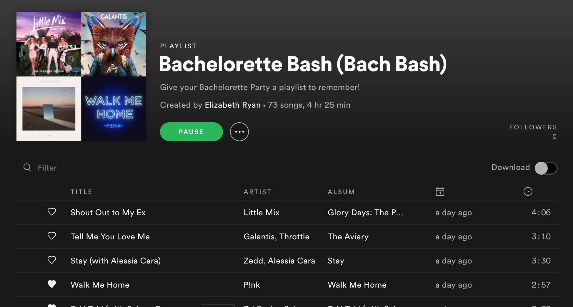 Spotify Playlist Bachelorette Party
