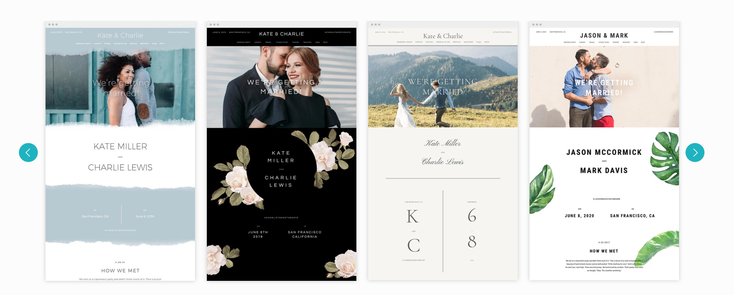 Zola wedding website