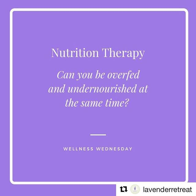 Yes! Such an important reminder from @lavenderretreat. Book an appointment today to figure out the areas in which your body is undernourished that are making you feel unwell. Once we know, we can come up with a plan to get you feeling amazing ASAP! Follow link in profile for appointment details!#Repost @lavenderretreat with @get_repost ・・・ It has been said that our country is overfed, undernourished, and simply lacking when it comes to nutritional content in our food. We agree - much of the food we consume is void of true nutrients and is more of product than produce! This can lead to everything from disease to weight gain to simply feeling unwell.  The problem, though, is navigating the world of nutrition, especially when it seems as though there is a new diet or recommendation being released each day. Which is the right choice for me and why? How do I implement it? What results should I expect?  The Nutritional Therapy team at Lavender Retreat specializes in providing individualized, holistic nutrition recommendations to fit your goals, lifestyle, and overall needs. We start by testing and assessing your nutritional needs and, based on those findings, create a plan that is right for you and will address your overall challenges, including: - Weight Loss - Pre-Diabetes & Diabetes - High Cholesterol - Cardiovascular Disease - Detoxification - Eczema & other Skin Conditions - Chronic Disease Prevention - Healthy Aging - Gastrointestinal Disorders - Thyroid & Autoimmune Conditions  Even if you are not suffering from these conditions, our team can create a plan that supports your overall health goals in conjunction with our other services offerings in the Center. Learn more about our programs and pricing here --  http://ow.ly/67rb30n17Jl