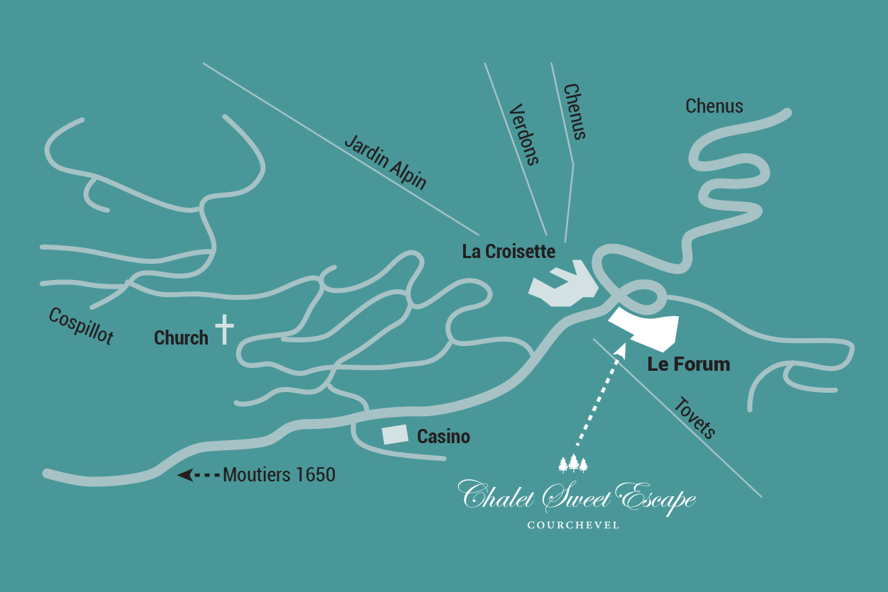 Chalet Sweet Escape at Le Forum, Courchevel Map (click to enlarge)