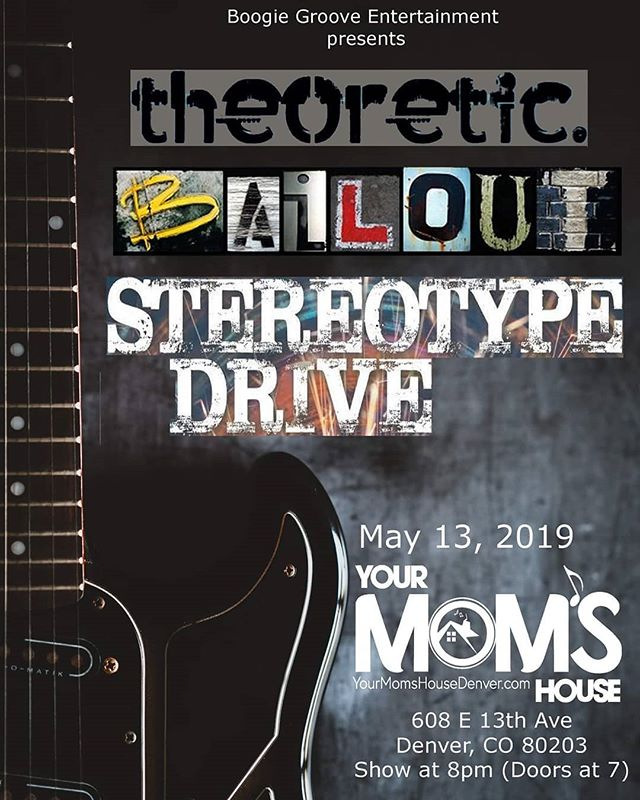 Hey! Come see us along with @bailouttheband and @stereotypedriveband at @yourmomshousedenver next week!! It's going to be a blast. Blow off your finals, work, whatever and have a hell of a Monday night with us. . . . . . #denverbands #coloradobands #denvermusic #mondaymotivation #indiemusic #livemusic #denver #colorado #listentothis #bethere