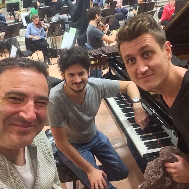 Rehearsing with these two incredible musicians Alexej Gerassimez and Konstantinos Destounis and the Thessaloniki State Symphony Orchestra. Preparing for an epic View From Olympus performance on Friday night.