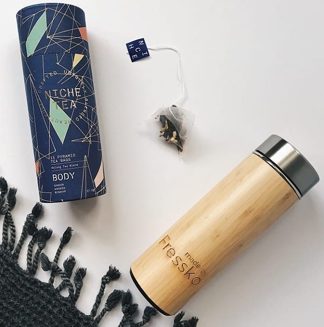 Bamboo thermos: perfect for smoothies, tea, coffee, infused water and any other concoction you can come up with. Keeps drinks warm or cold and has a filter for loose leaf teas. A great teacher gift for these last days of school! 📸@thelittlewolf.creative
