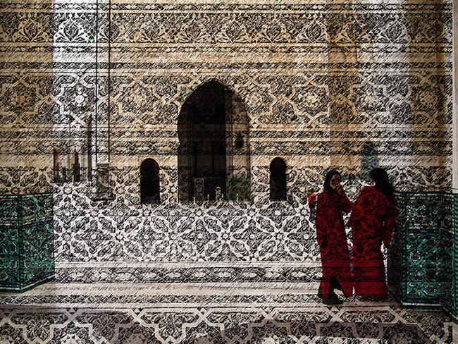 Mosque and Girls in Red, 2016  Intervened digital photography  22.5 x 29.5 cm