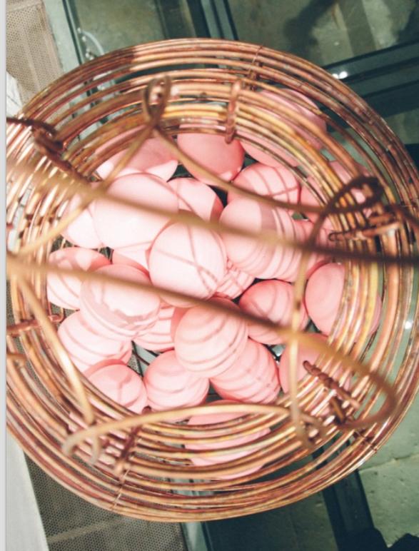 Grandma's Basket, 2016  Mixed technique: copper tube, egg shell paint.  68 x 68 x 68 cm