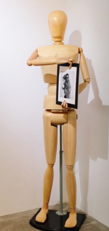 Self Portrait, 2015  Mixed media: drawing model and photography  190 x 60 x 60 cm