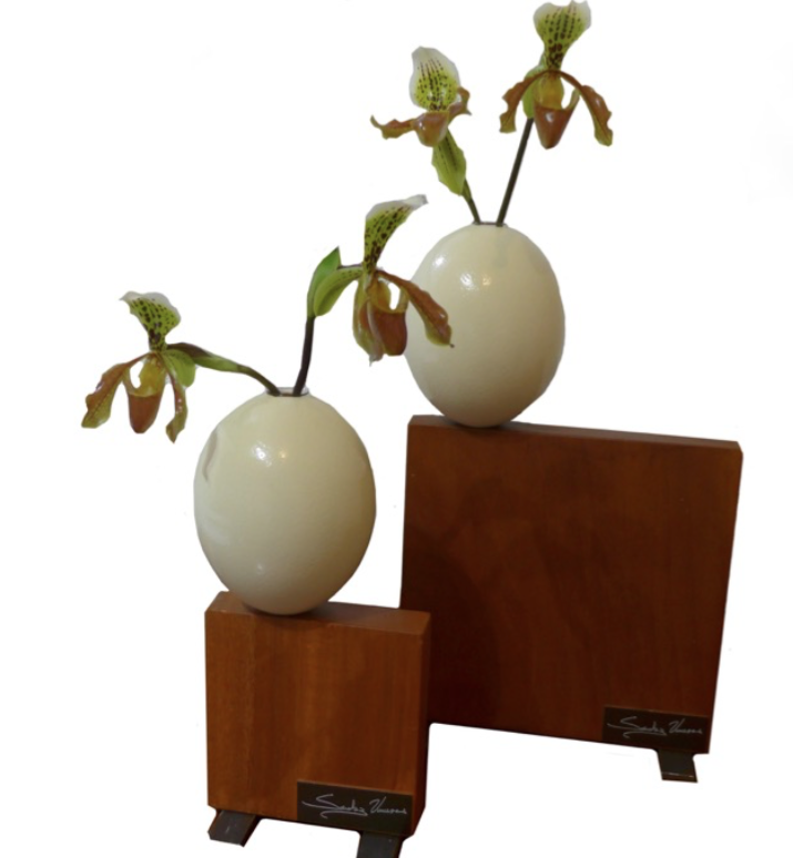 Sprouts, 2015  Mixed technique: shells, wood, glass and metal  42 x 26 x 16 cm and 32 x 15 x 16 cm