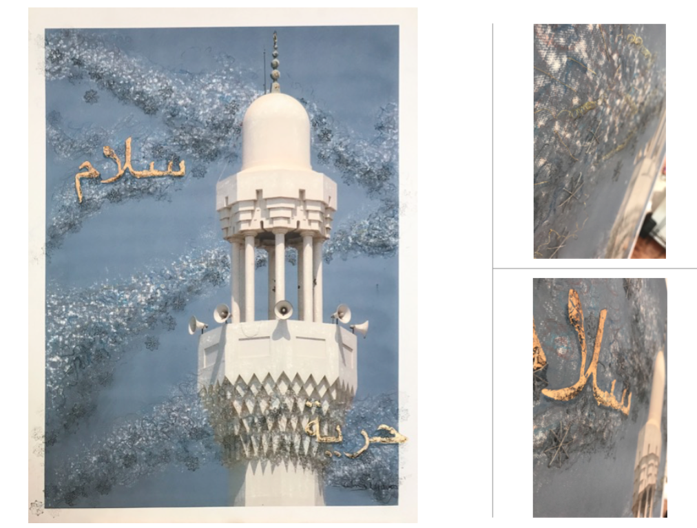 Vientos de Paz y Libertad , 2016  Giclée imagen digital sobre lienzo intervenida  98 x 74.5 cm