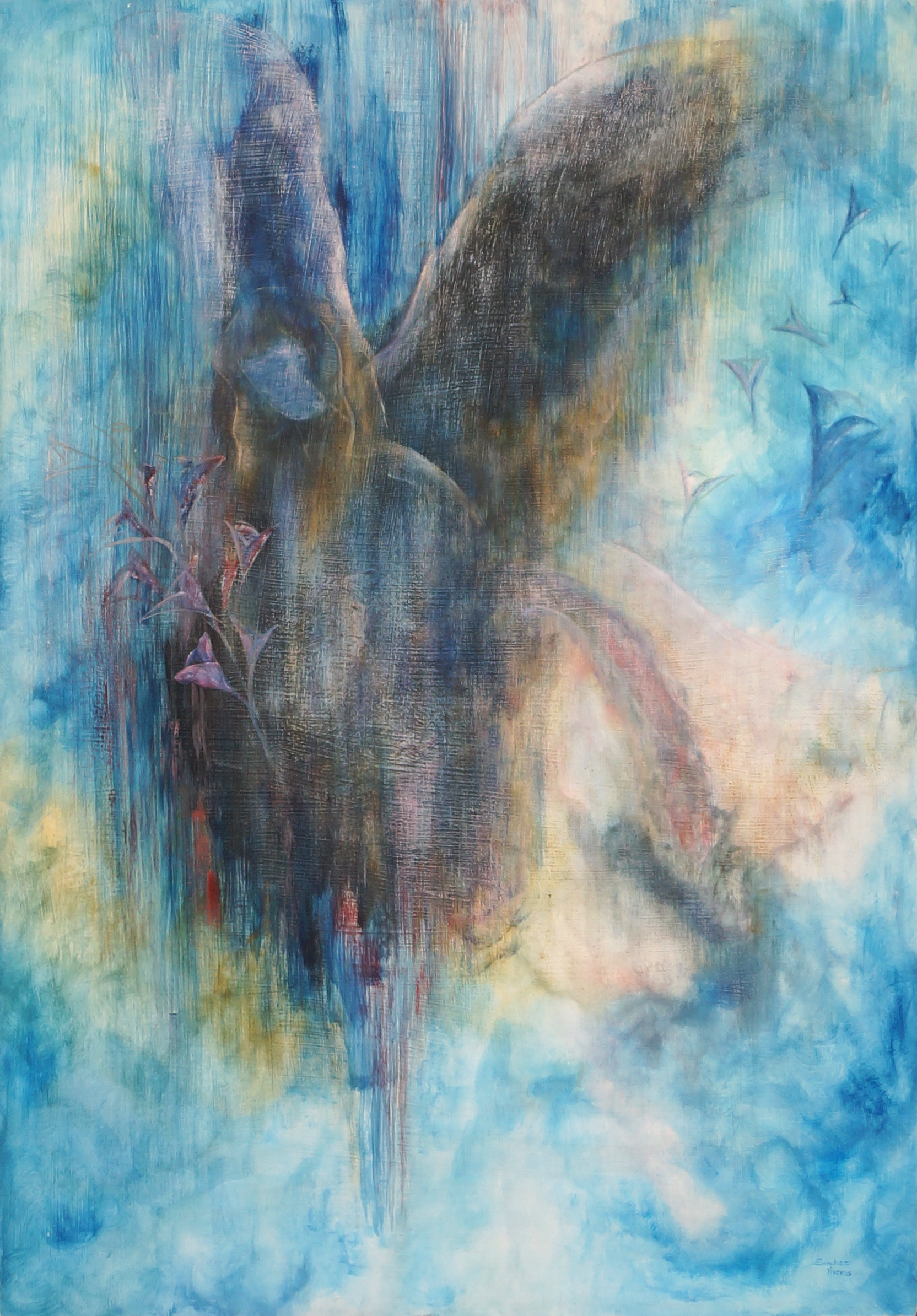 Archangel Gabriel, 2009  Mixed technique: acrylic and oil on wood  122 x 86 cm