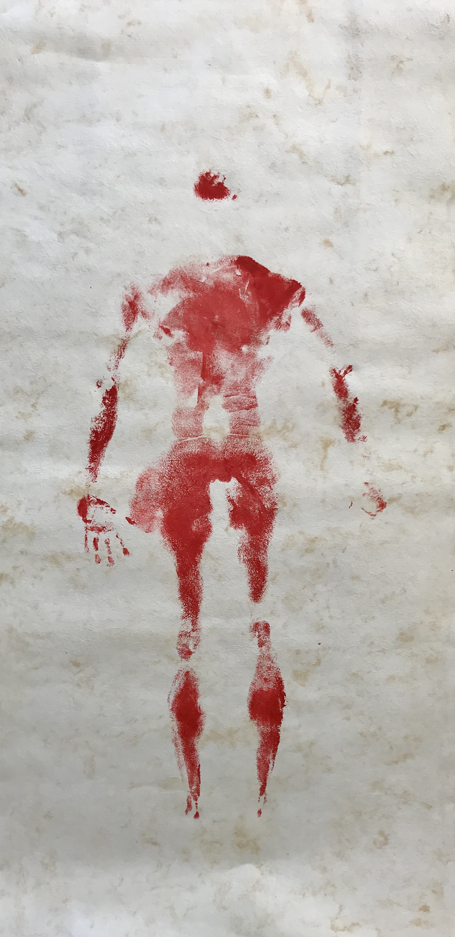 2017  Body print with acrylic paint on amate paper  244 x 122 cm