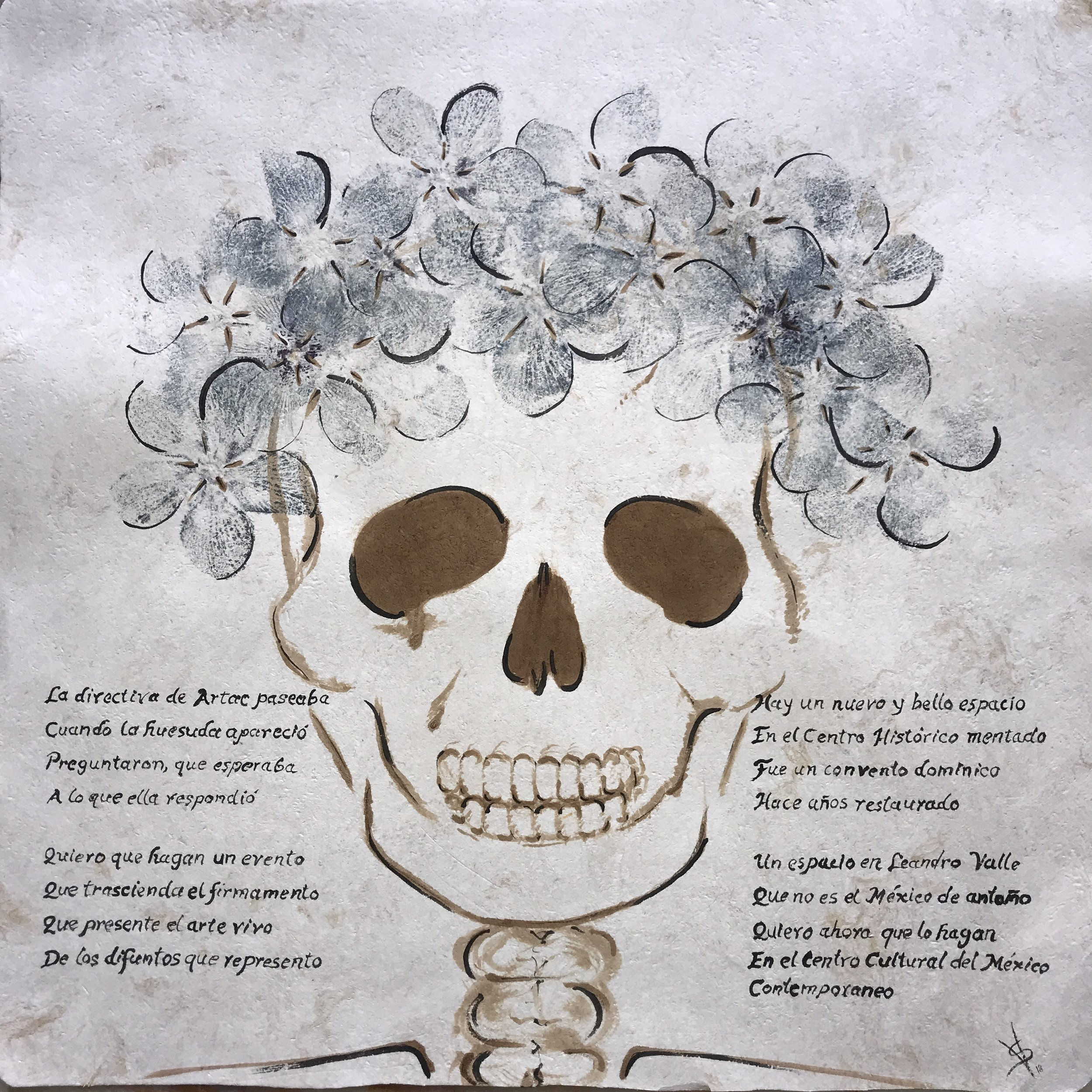 Calaflores , 2018  Impresión con pigmentos florales sobre papel amate  60 x 60 cm
