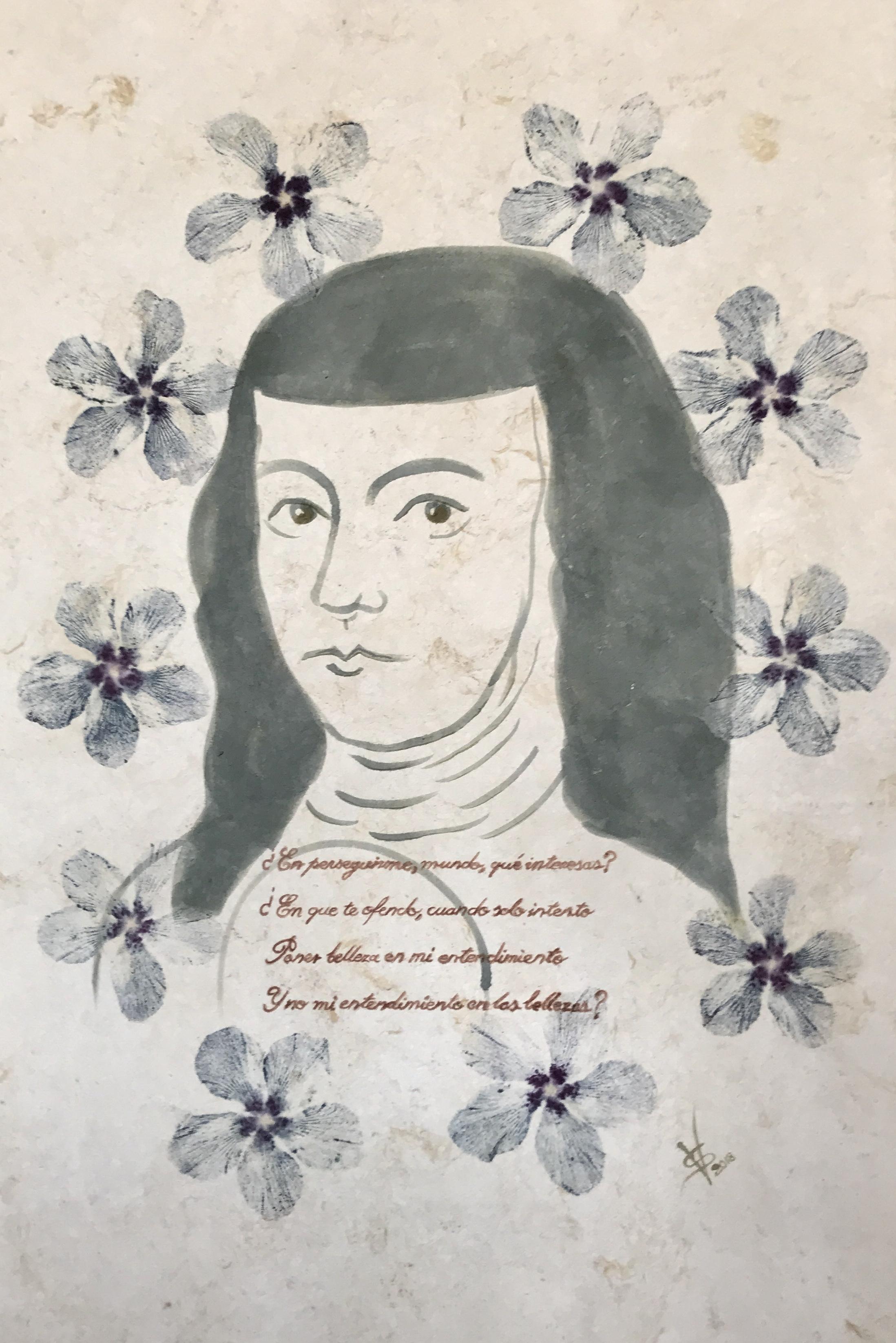 Sor Juana , 2018  Pigmentos florales sobre papel amate de fabricación artesanal  90 x 60 cm