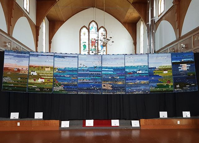 Congratulations to our friends and neighbours from Winds & Waves Artisan Guild; their collection of nine quilted panels, designed and handcrafted on Fogo Island, are on display in Ottawa this week at the Canadian Quilters' Association's annual Quilt Canada event. Artisans Lillian Dwyer, Donna Rowe, Millicent Dwyer, and Violet Combden will be in attendance at the event at the EY Centre from 9am-4pm from today, June 12-June 14, telling the story behind each of the beautiful panels throughout the exhibition. ⠀ ⠀ We are thrilled that the work of our island's local artisans is being shared on the national stage, and encourage our friends in Ottawa to view their stunning work first hand this week.⠀ ⠀ #quiltcanada #quilting #fogoisland