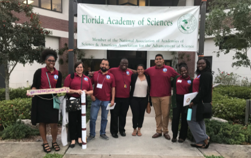 Pictured from left to right are Miranda White (junior Integrated Environmental Science major), Dr. Sarah Krejci (Assistant Professor of Biology and Integrated Environmetnal Science), Dr. Juan Calderon (Assistant Professor, Computer Science), Lakean McGregor (sophomore Biology major), Kailey Richard (B-CU alum, Biology), Vikash Bisram (sophomore Biology major), Alyssa Stubbs (junior Biology major) and Jehmia Williams (junior Biology major)