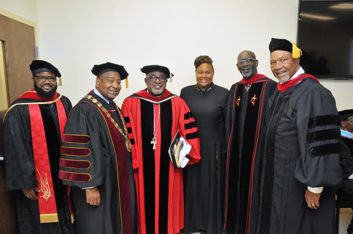 Pictured from left to right: Rev. David Allen, Interim President Hubert Grimes, Dr. Daran Mitchell, Rev. Kenya Lovell, Kevin James, Rev. Randolph Bracy Jr.
