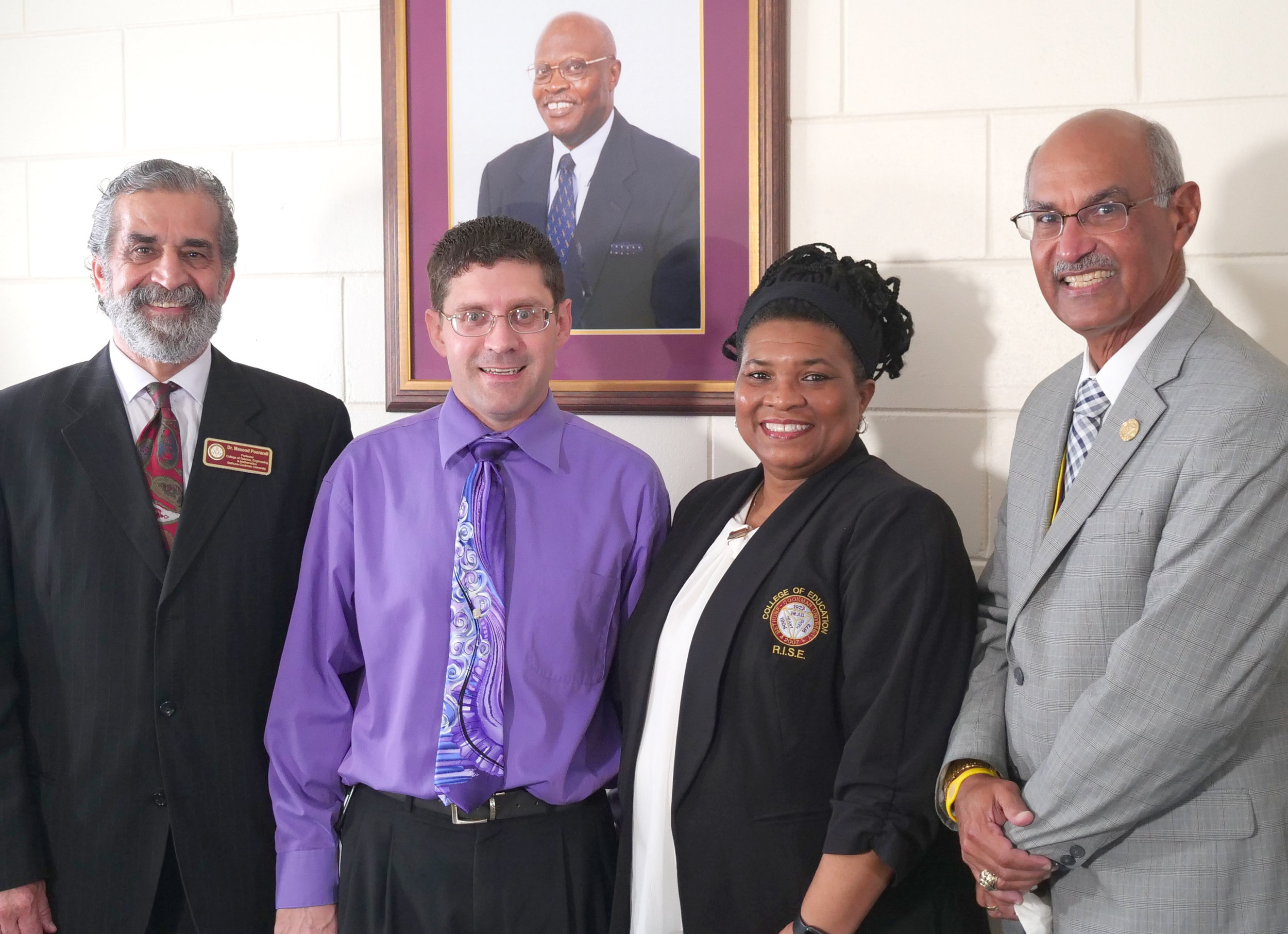 Pictured from left to right: Dr. Masood Poorandi, Dr. Allen Pelley, Ms. Lawana Walden, and Dr. Hector N. Torres