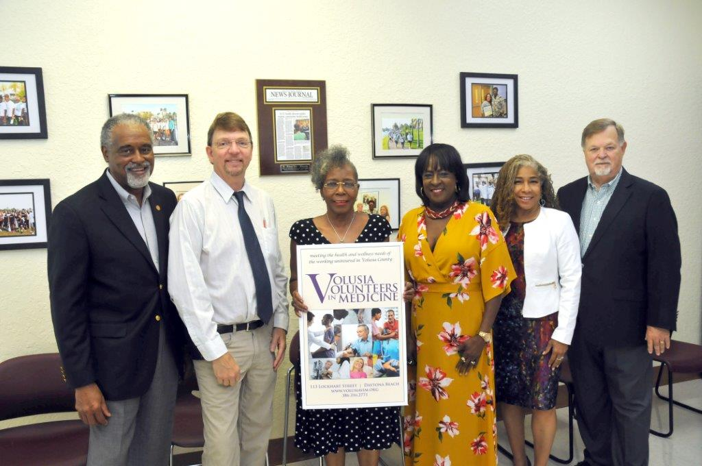 Pictured from left to right: Volusia Volunteers in Medicine Board of Directors Dr. Aubrey E. Long, Dr. Sam Cay, Mrs. Francene Barnes, Mrs. Sandra C. Strapp, Dr. Deanna Wathington, Mr. Jim Dixon