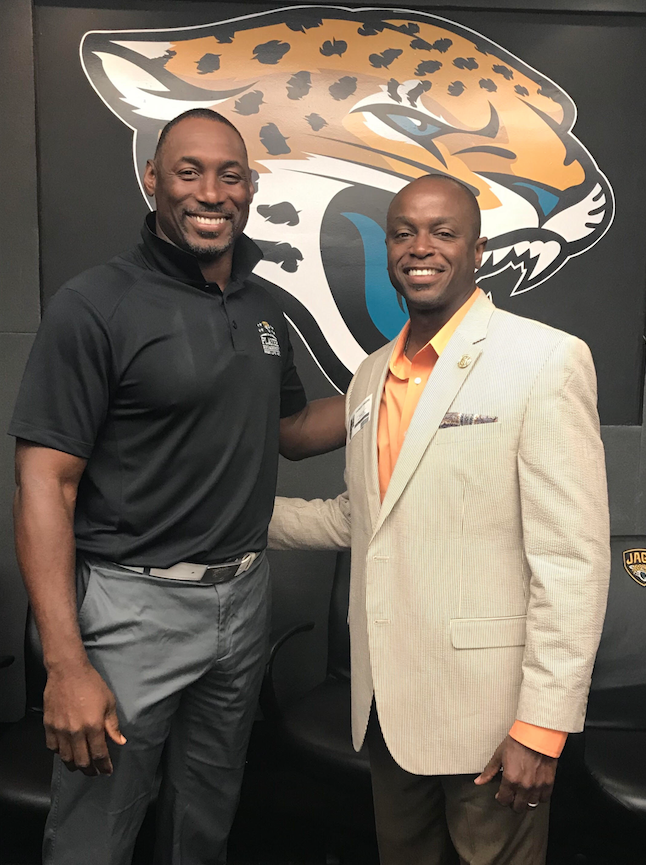 Pictured: Marcus Pollard, Director of Player Engagement (Jacksonville Jaguars) and Dr. Earnest Fingers, B-CU Director of Student Life & Activities and Title IX Investigator