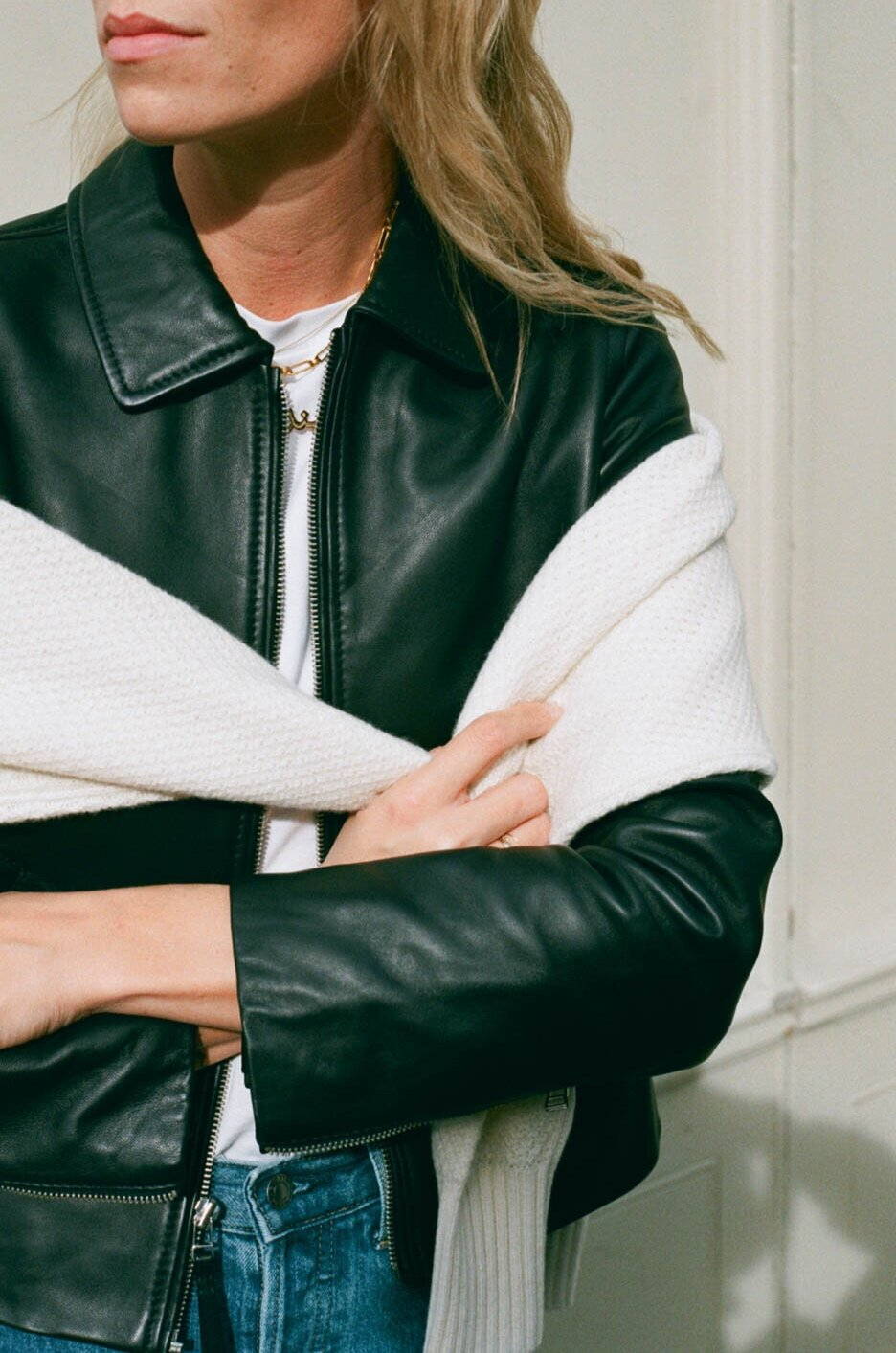 - a sustainable leather jacket
