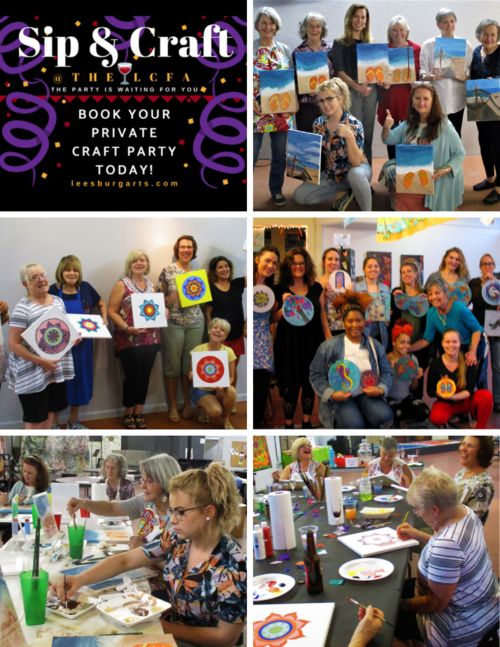 SIP & CRAFT PARTIES - For 5 - 15 people. Contact Maria or Patt 352 - 365- 0232 for space availability and pricing.