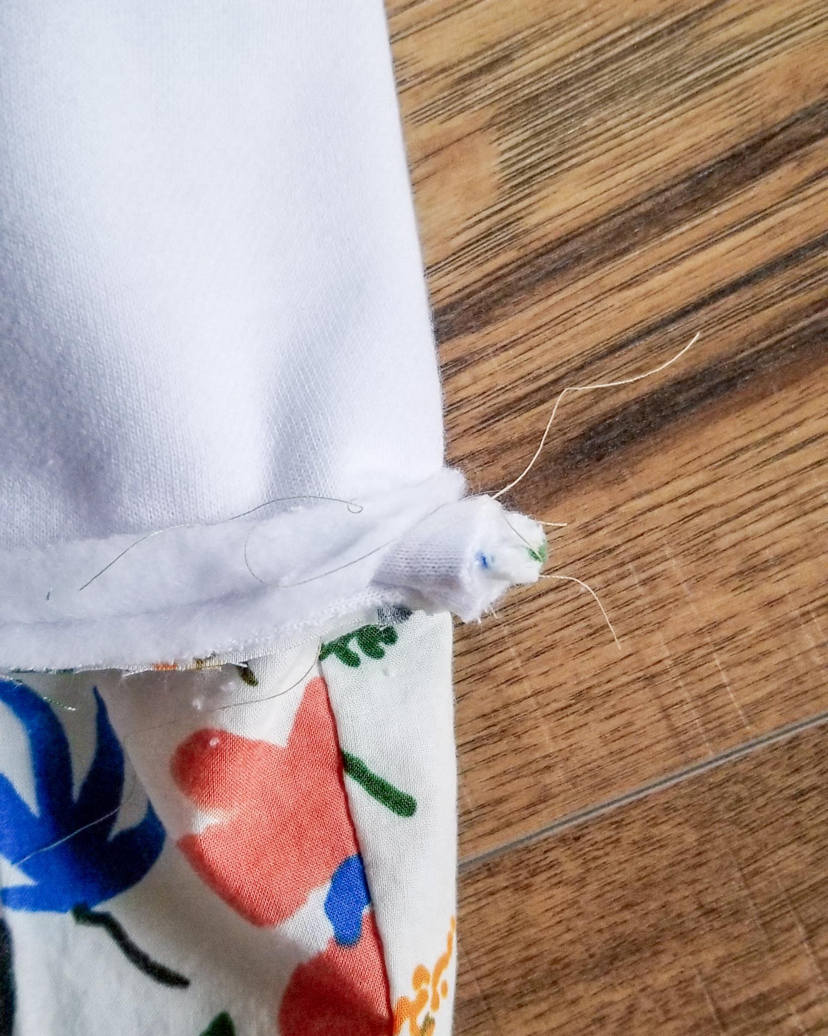 The Semi-Minimalist Floral Christmas Stocking Juliet Meeks Cloud 9 Fabrics Loop inserted into stocking.jpg
