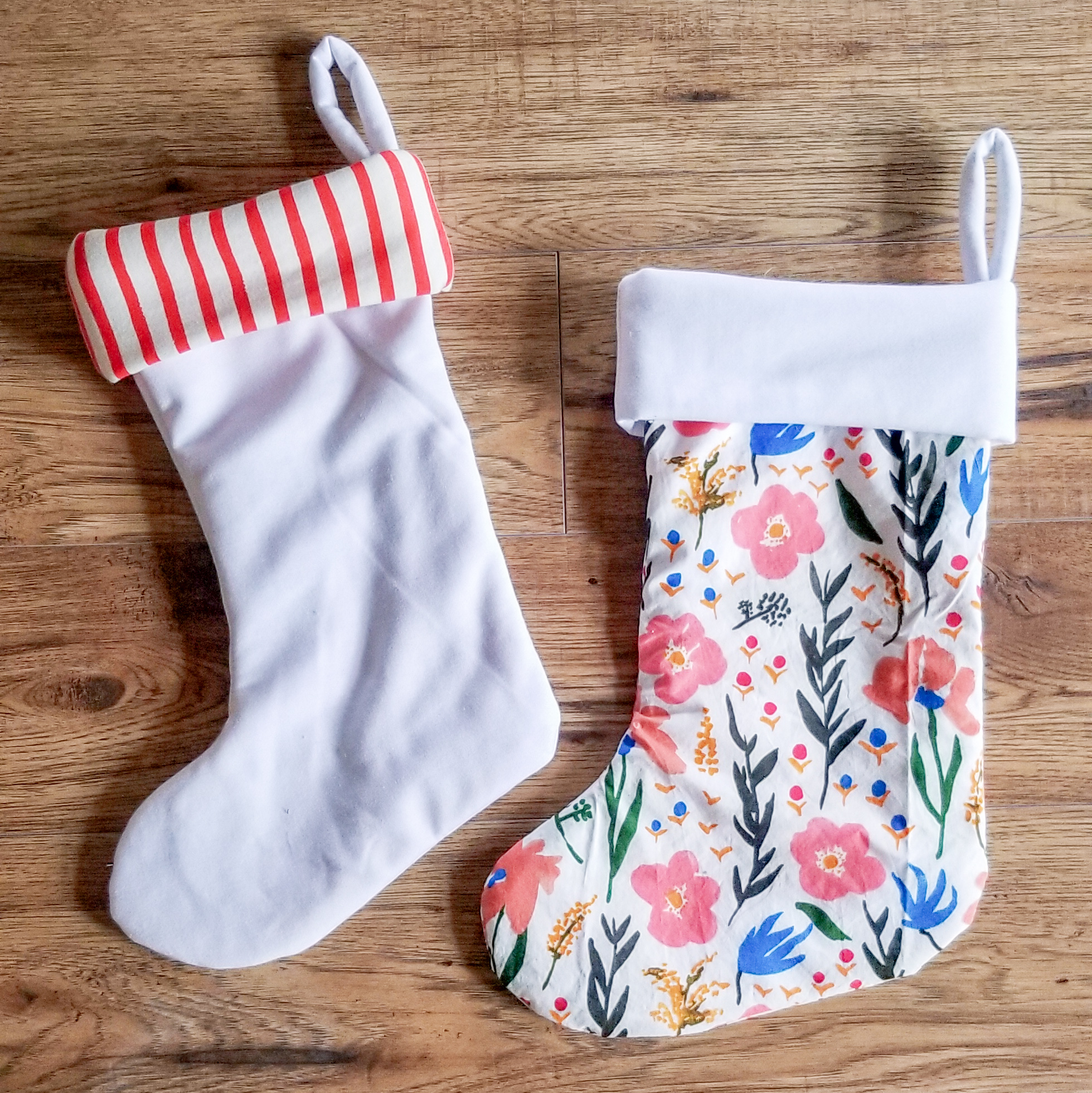 Fabric Info:   Red Striped cuff stocking- The outer shell is similar to  Organic Cotton Sweatshirt Fleece PFD Natural Fabric  and the inside and cuff is  Saltwater Sailor Stripe Organic Cotton Fabric, Candy Cane   Floral Stocking- The outer shell is  Organic Print Cotton Cloud 9 Juliet Meeks Gather Day Dream White  and the inside and cuff is similar to  Organic Cotton Sweatshirt Fleece PFD Natural Fabric