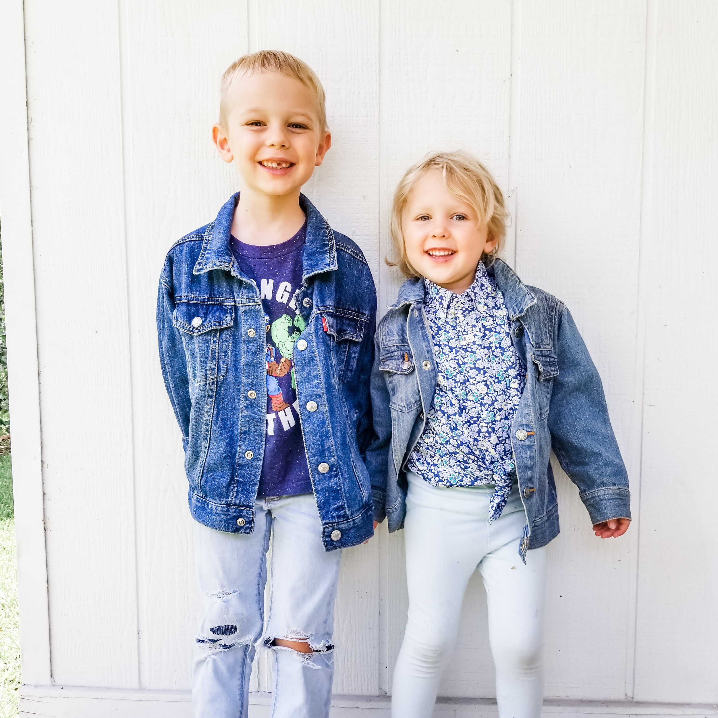 Just like the original picture above my kids wear a hodge podge of used, ethical, new and handmade items. (Details for original picture below.)  Outfits: Wesely- Old Navy Jeans (new), t-shirt and jean jacket (used). Pepper- Target Leggings (new), J. Crew floral top and Jean jacket (used).
