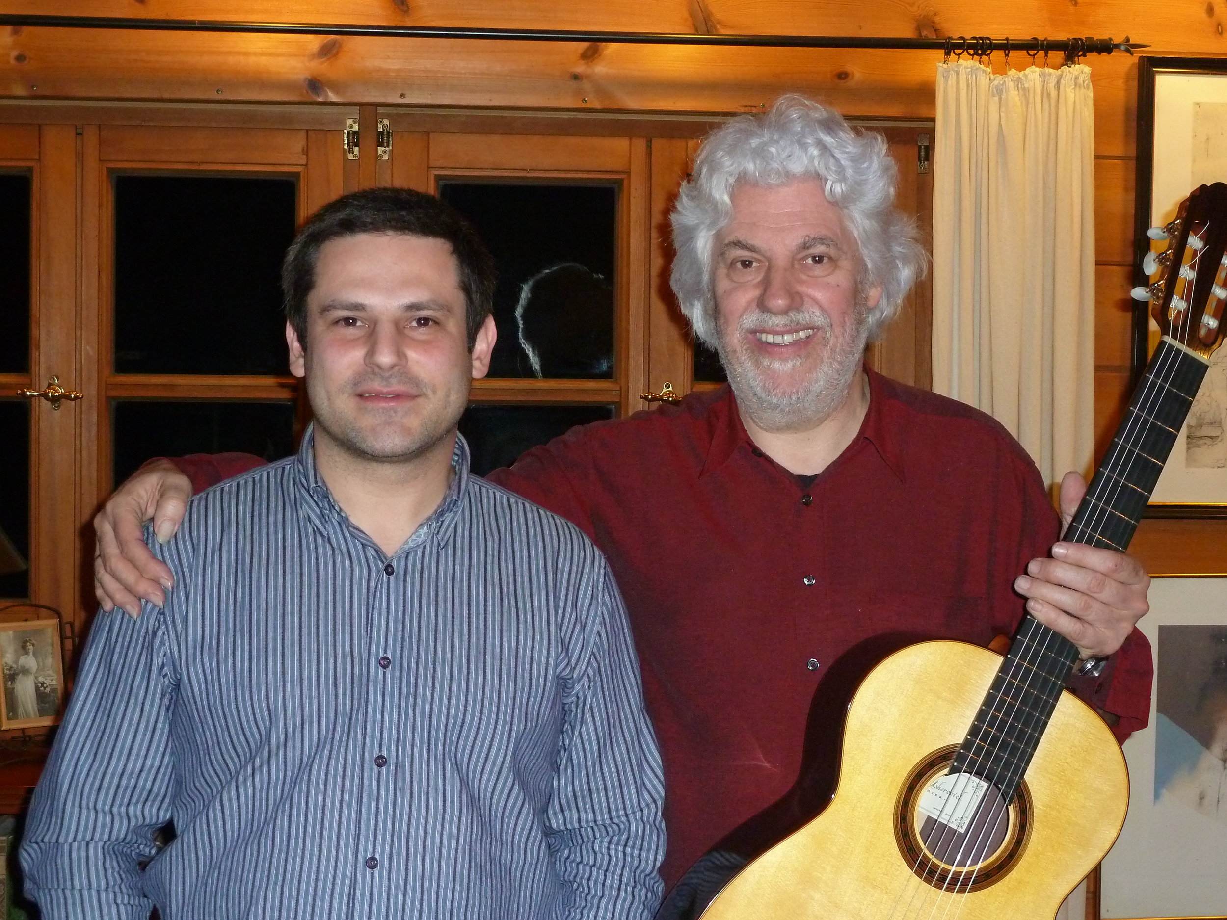 "With Professor  Hubert Kaeppel  in his house in Germany with his new 2012 Spruce/Rosewood traditional ""Signature"" model"