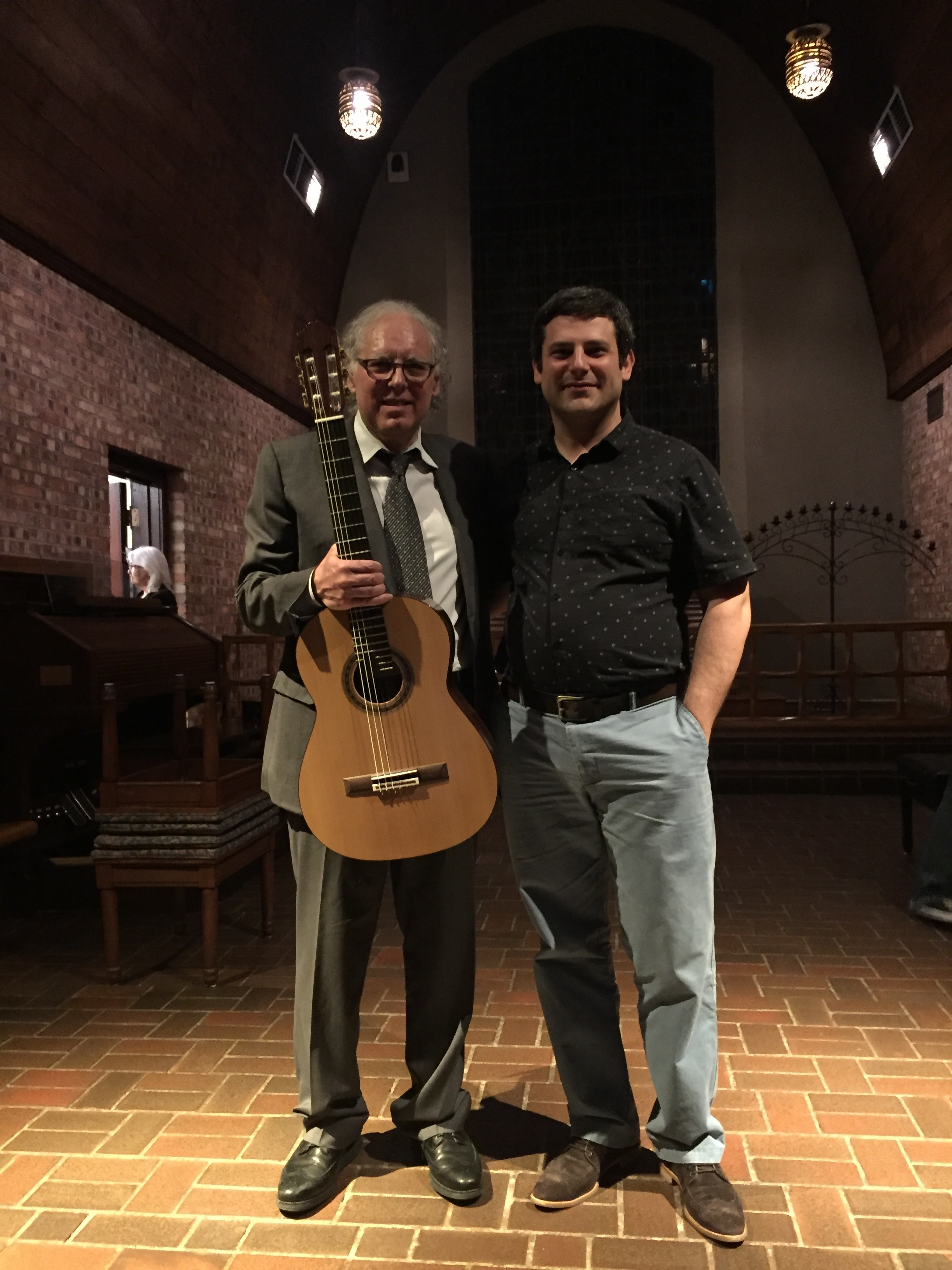 With  Carlo Pezzimenti , student of Andres Segovia, after his concert in Dallas, TX, with his new Spruce/Rosewood Traditional Classical model, built 2015