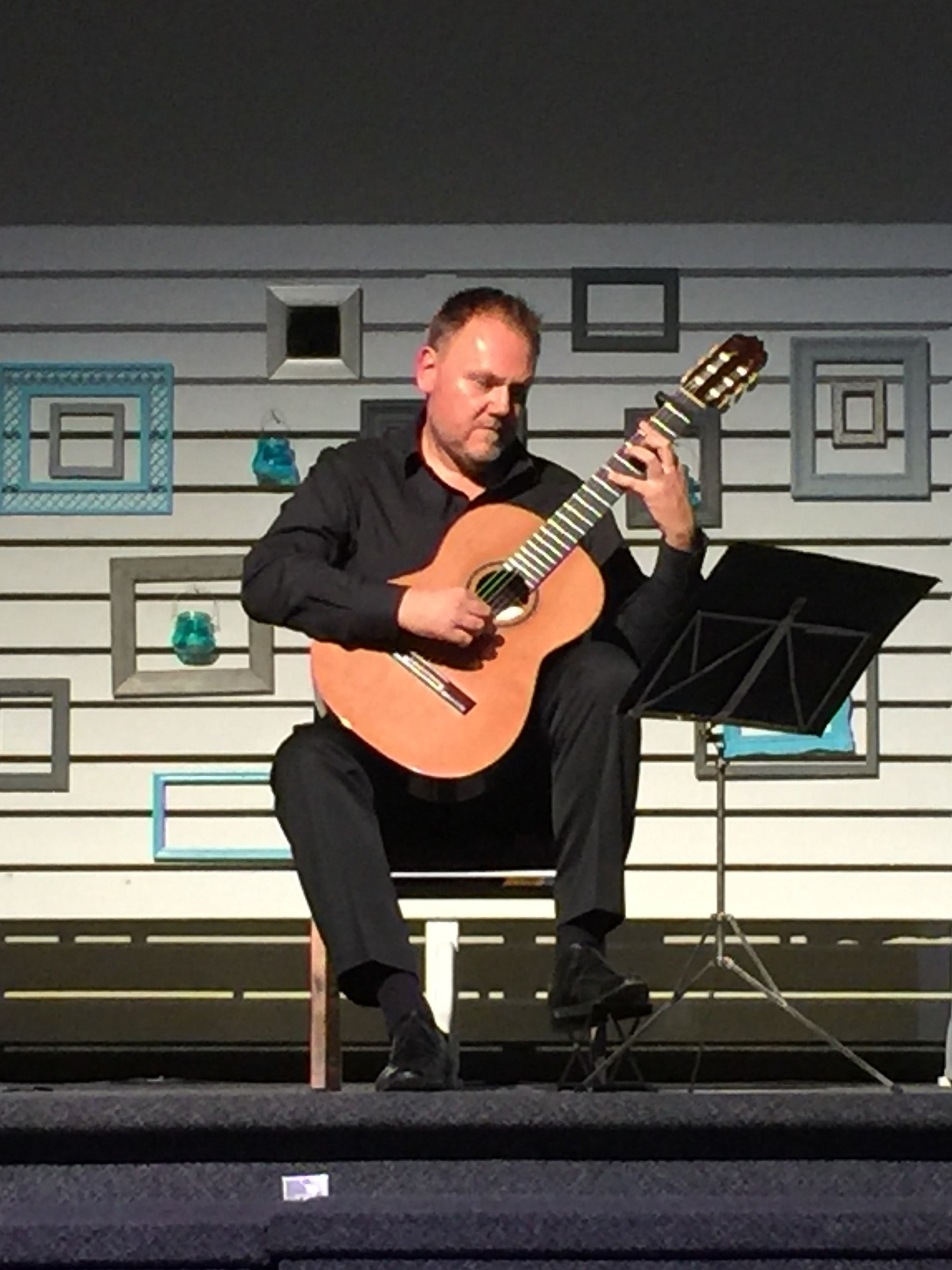 Marco Feri  playing Baroque concert at Sauble Beach Guitar Festival, Ontario, Canada, on Cedar/Rosewood Traditional Classical model, 2016